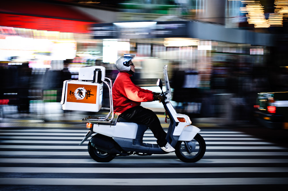 Panning of a motorbike in Tokyo